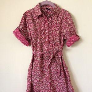 Girls floral shirt dress